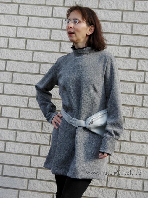 Tunika Tessa in grau mit Hüfttasche