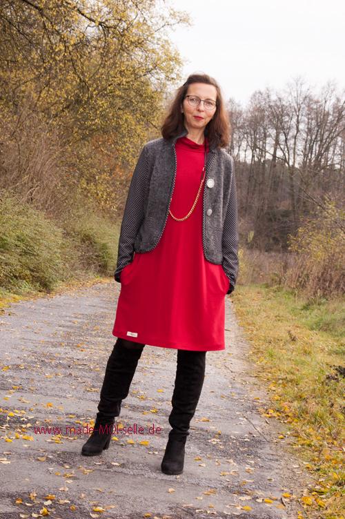 Kleid Ella in rot mit Blazer